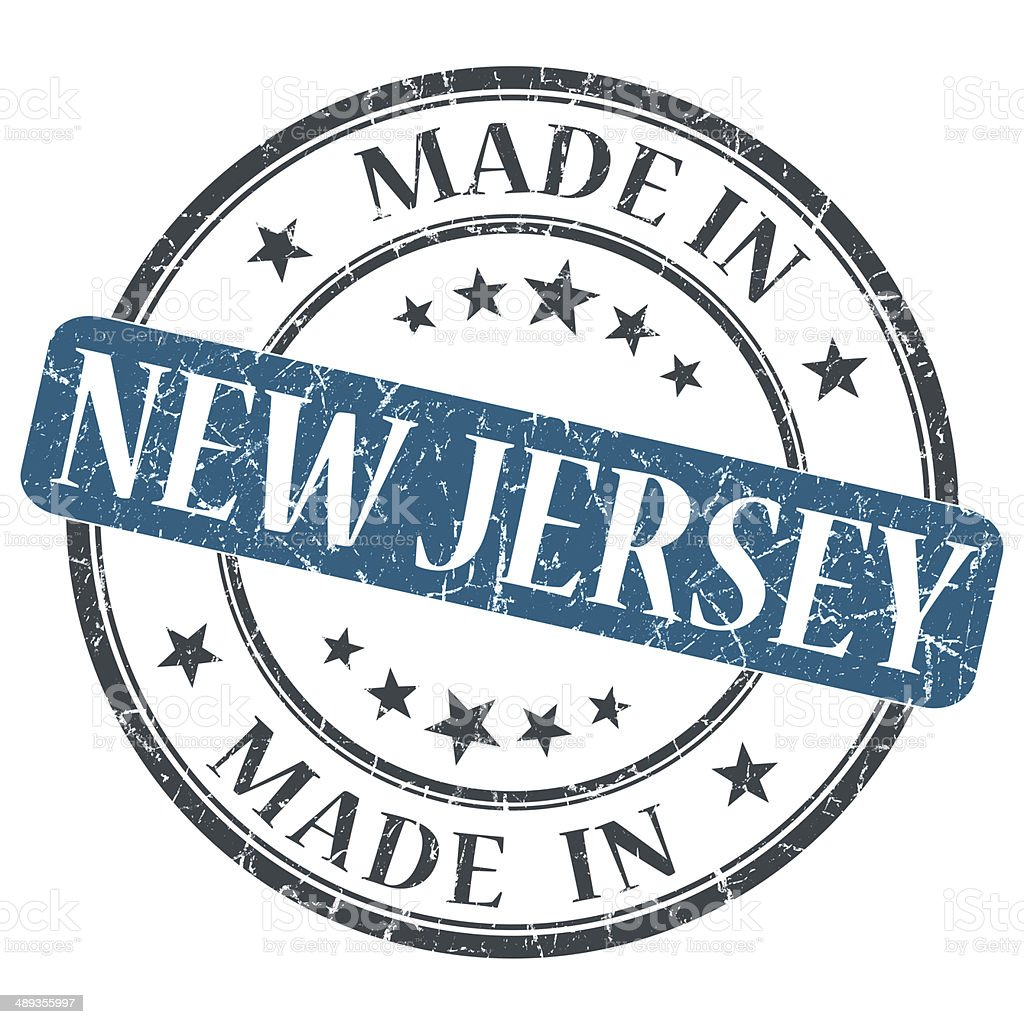 made in New Jersey blue round grunge isolated stamp stock photo