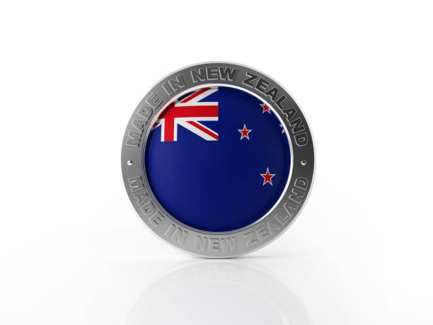 made in new zealand badge on white background - new zealand flag stock photos and pictures