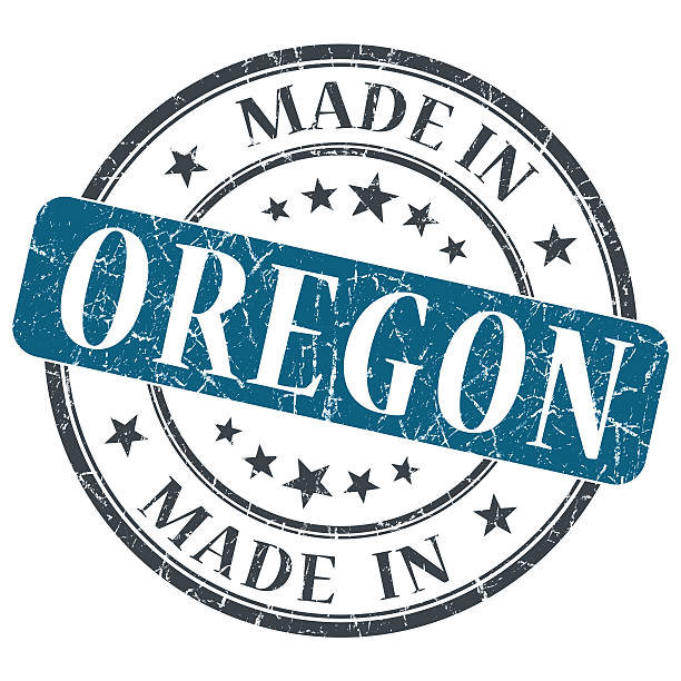 made in Oregon blue round grunge isolated stamp made in Oregon blue round grunge isolated stamp oregon us state stock pictures, royalty-free photos & images