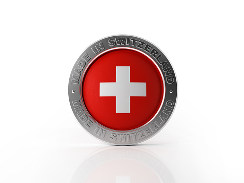 Made in Switzerland badge on white background. Horizontal composition with clipping path.