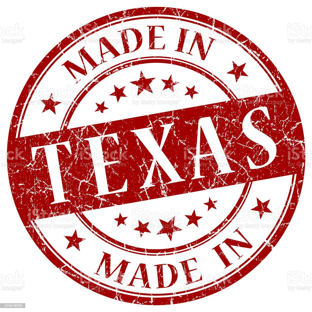 made in Texas red round grunge isolated stamp stock photo