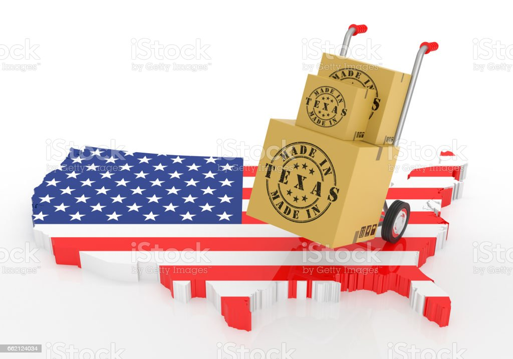 Made in Texas with USA Map. royalty-free stock photo