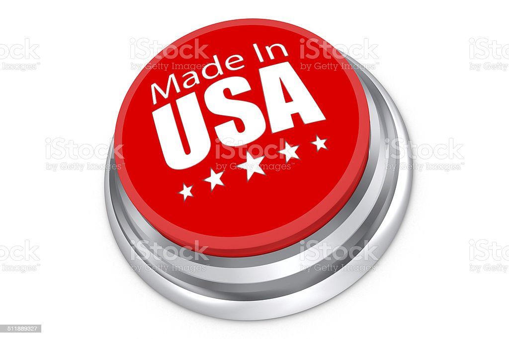 Made in the USA button stock photo