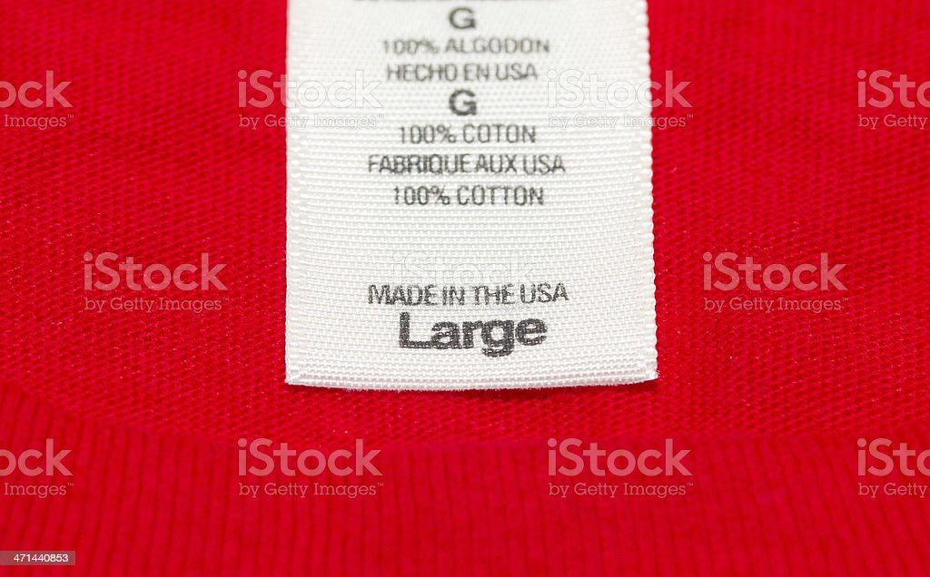 Made in the USA clothes label stock photo