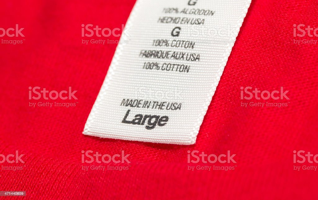 Made in the USA clothes label royalty-free stock photo