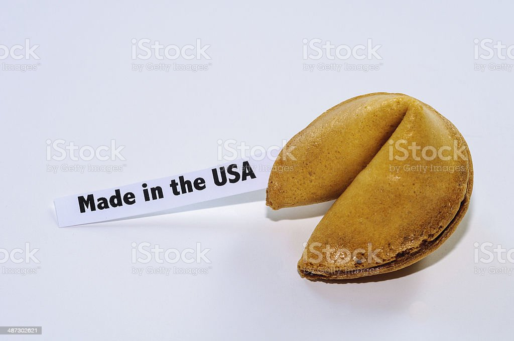 Made in the USA Fortune Cookie stock photo