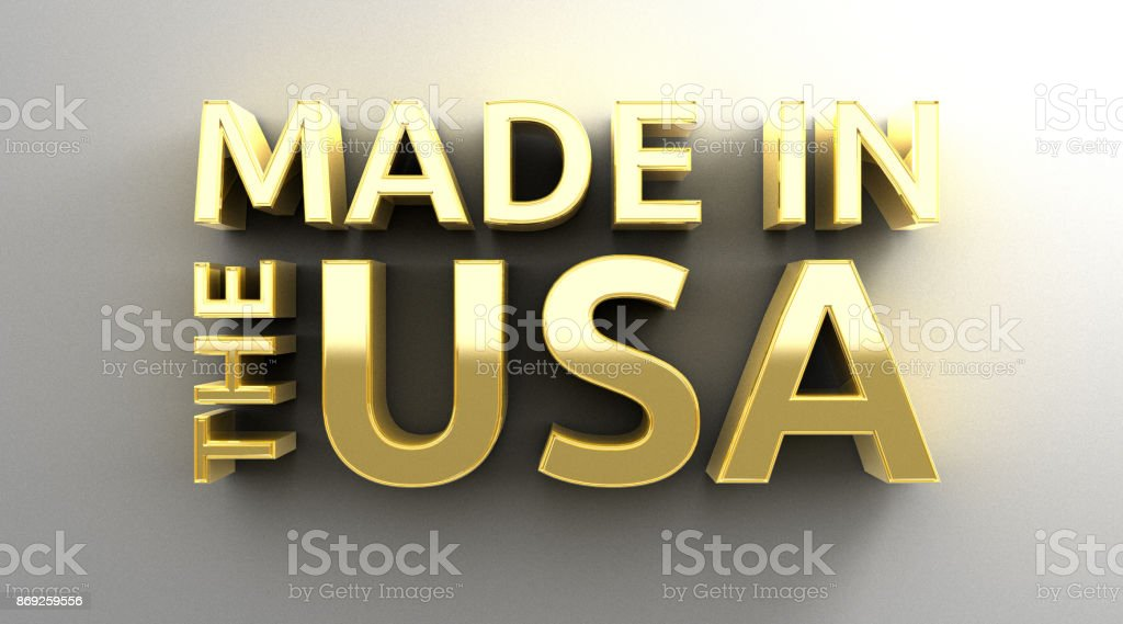 Made in the USA - gold 3D quality render on the wall background with soft shadow. stock photo