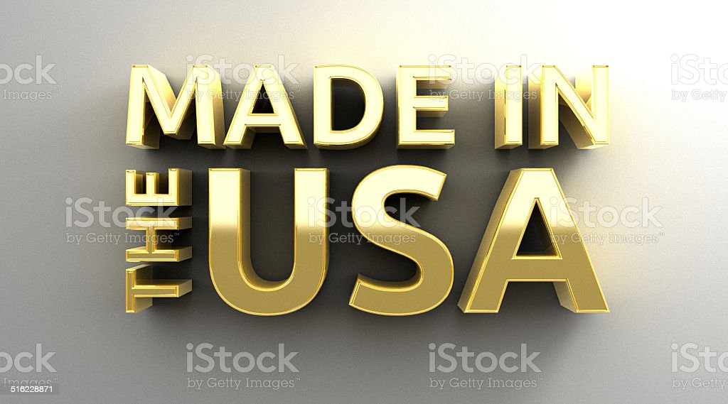 Made in the USA - gold 3D quality render stock photo