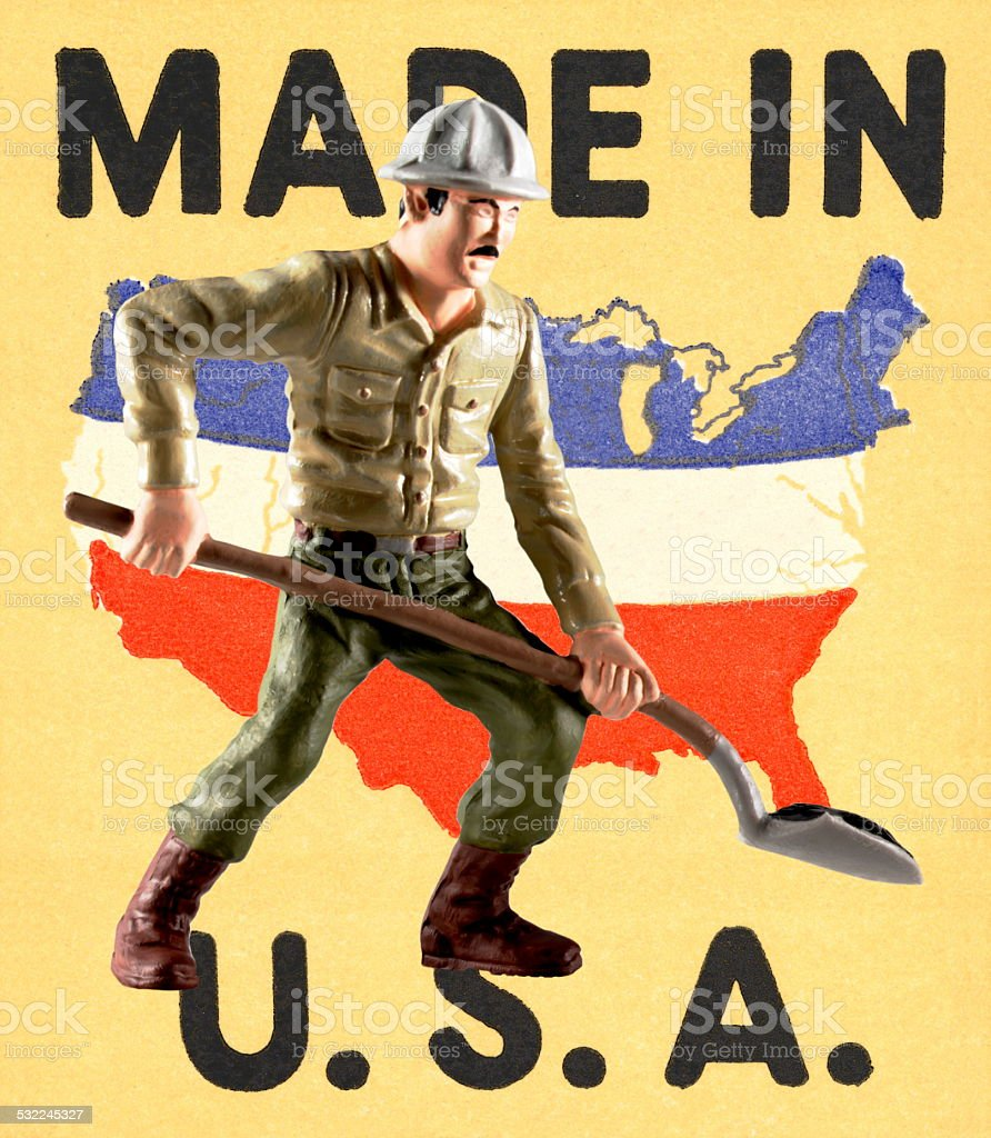 Made in the USA Man Lifting a Shovel stock photo