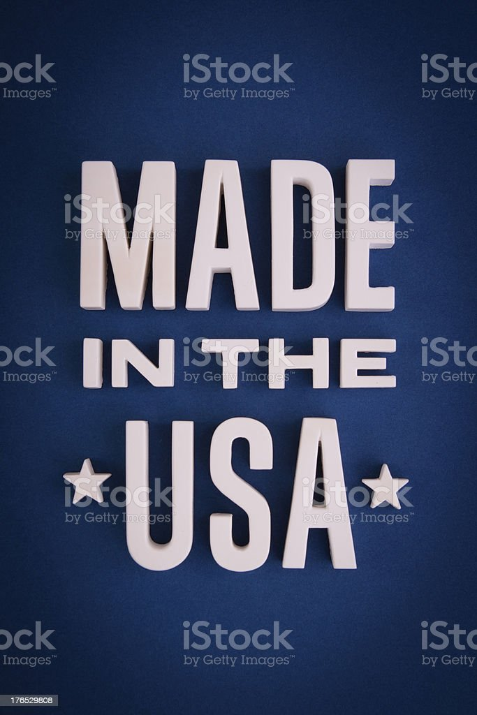 Made in the USA sign lettering stock photo