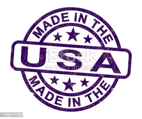 Made in the USA stamp shows American products produced or fabricated in America. Quality patriotic exports for international trade - 3d illustration