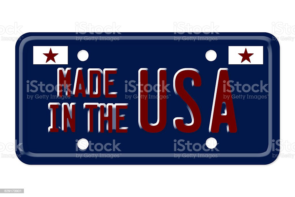 Made in the USA Vanity Plate stock photo