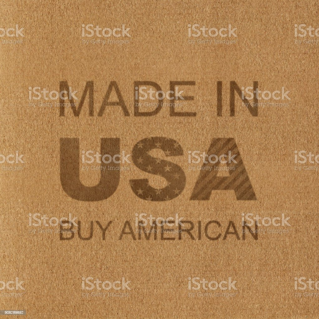 Made in USA. Buy American. Inscription on the Cardboard stock photo