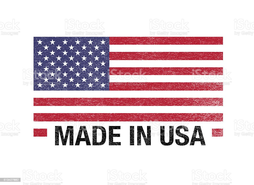 Made In USA Flag  Barcode On White stock photo