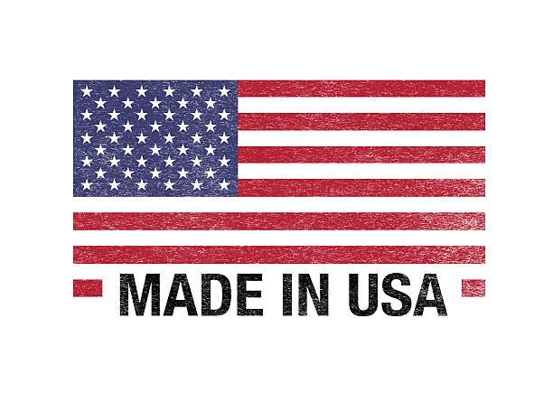 Fabriqué aux États-Unis drapeau code-barre inscrit sur blanc - Photo