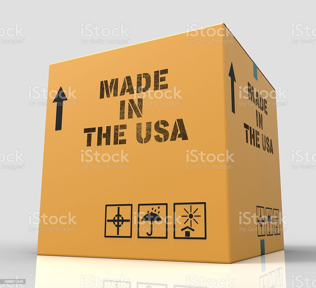 Made In Usa Means The United States And Americas 3d stock photo