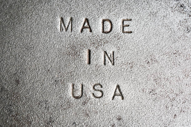 Made In USA Stamped into Cast Iron Stock Photo stock photo