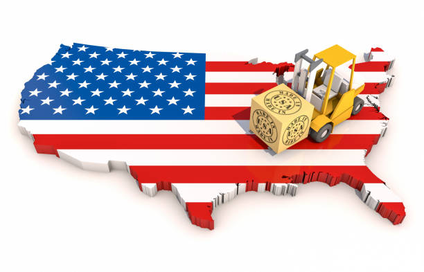 Made in USA, mit USA Map. 3D-Illustration – Foto