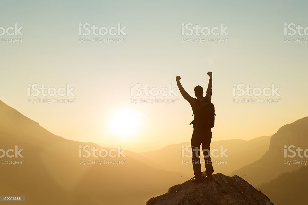 Made It To The Top! stock photo