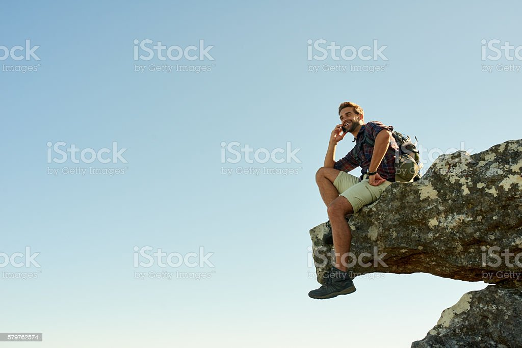 I made it to the top! stock photo