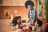 Happy African American mother serving Belgian waffles to her kids for breakfast.