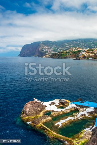 The beautiful coastline of Madeira with view of Cabo Girao cliff in the distance.