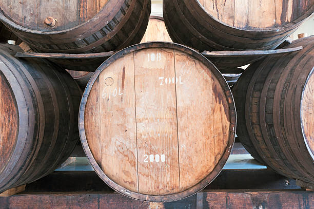 madeira wine barrel in the wine cellar, madeira island - wildlife reserve stock pictures, royalty-free photos & images