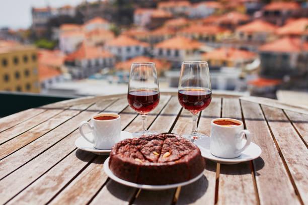 madeira wine, coffee and hohey cake, view to funchal, portugal - funchal madeira imagens e fotografias de stock