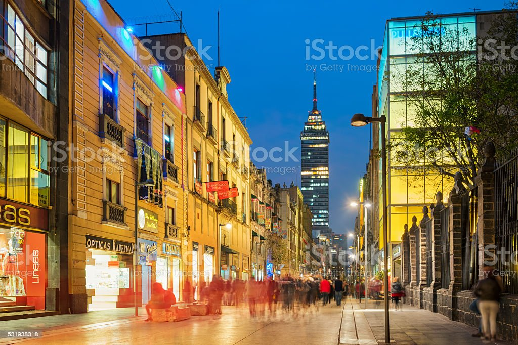 Madero Avenue a Shopping Street in Downtown Mexico City stock photo