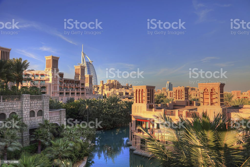 Madinat Jumeira Resort, Arabic style cityscape, Dubai stock photo