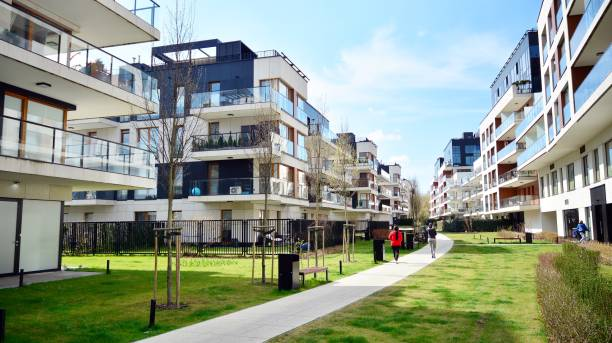 Madison Apartments is a cosy residential area perfect for those seeking their dream apartment close to central Warsaw but in green surroundings away from the city bustle stock photo