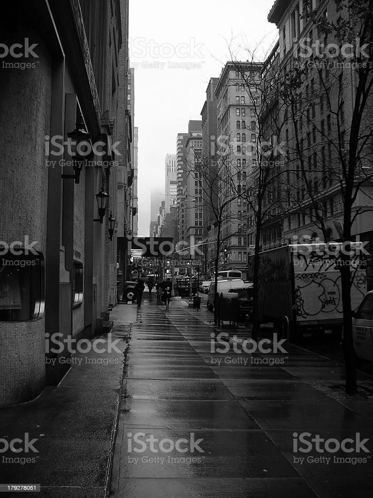 Madison Avenue in the rain stock photo
