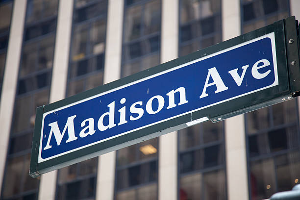 Madison Avenue road sign in New York stock photo