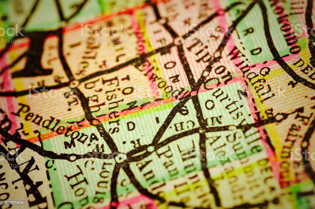 Madison Indiana County Maps Stock Photo More Pictures Of