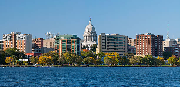 Madison Image of city of Madison, capital city of Wisconsin, USA. This is stitched composite of 5 vertical images. madison wisconsin stock pictures, royalty-free photos & images
