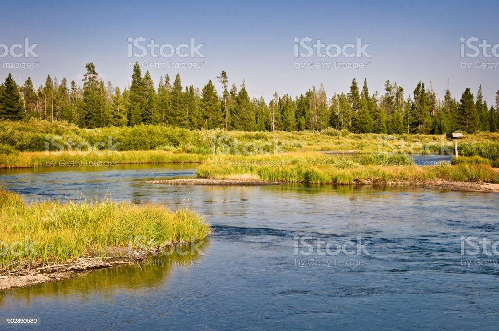 Madison river near West Yellowstone, Montana, USA stock photo