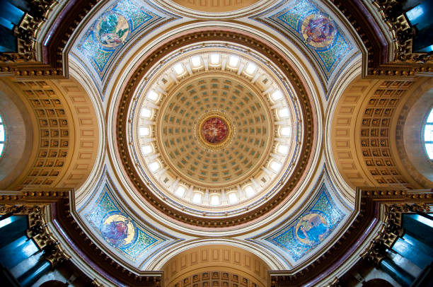 Madison Rotunda The inside of the Wisconsin State Capital's rotunda. madison wisconsin stock pictures, royalty-free photos & images
