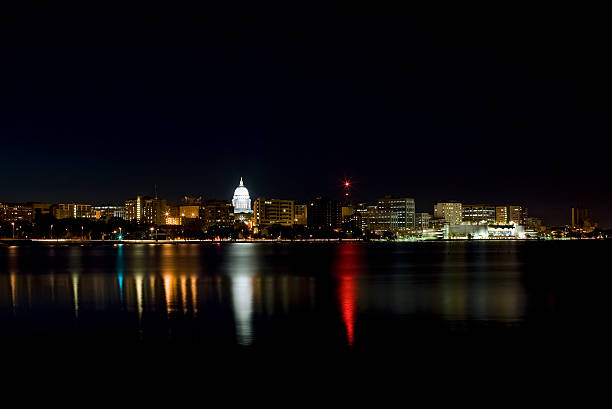 Madison skyline at night. stock photo