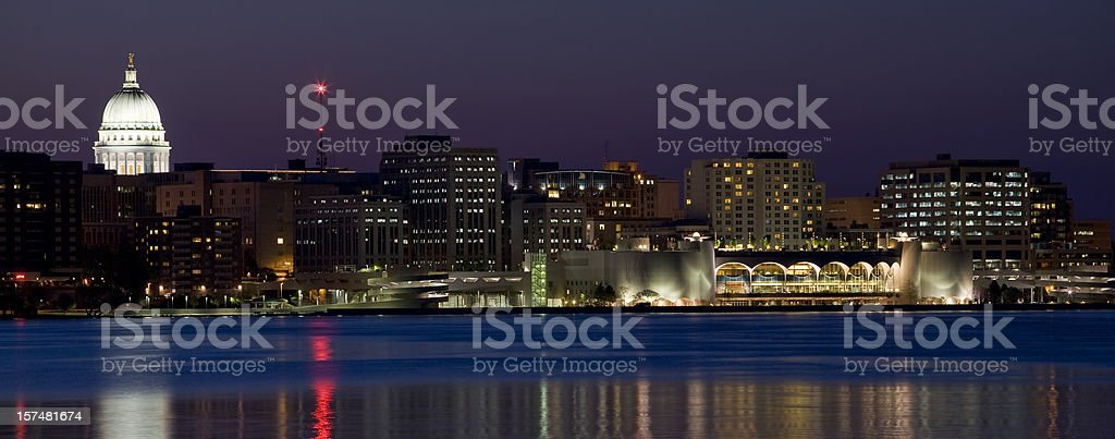 Madison skyline at night (panorama) stock photo