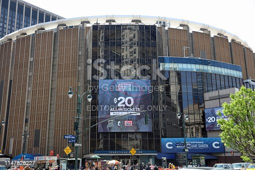 New York, USA - April 29, 2019: Madison Square Garden and Pennsylvania Station with unidentified People in Manhattan. New York City. USA