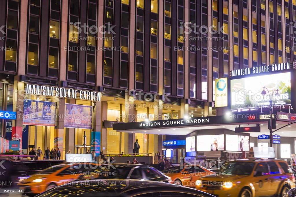 Madison Square Garden at night stock photo