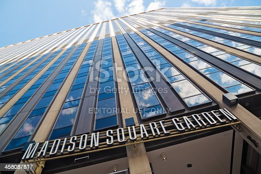 New York, New York, USA - August 08, 2013: Face of Madison Square Garden building on 7th Avenue side.