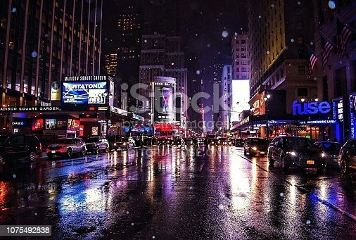458128003 istock photo Madison Square Garden in the Rain, Manhattan, New York 1075492838