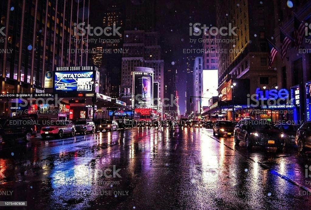 Madison Square Garden in the Rain, Manhattan, New York stock photo
