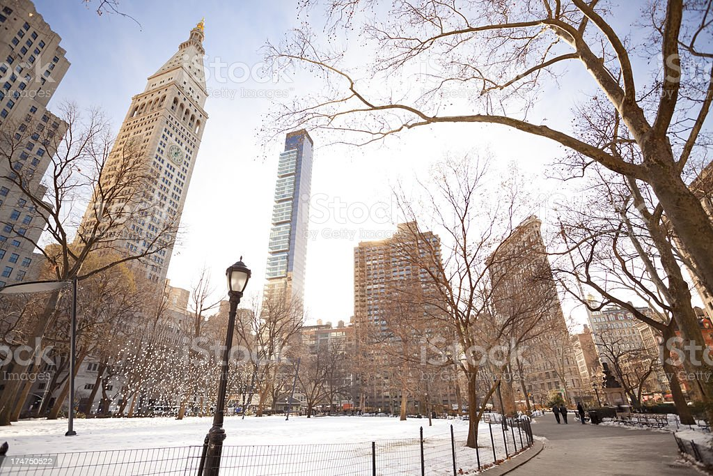Madison Square Park at winter royalty-free stock photo