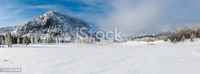 Madison Valley of Yellowstone National Park in the Winder covered with snow. Panorama