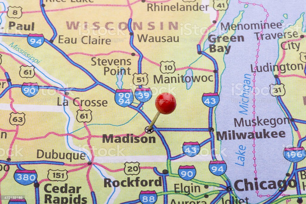 Madison Wi Map Pin Stock Photo & More Pictures of Accuracy | iStock