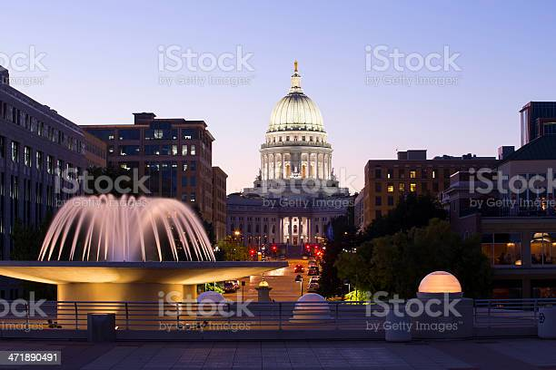 Madison Wisconsin Capitol Building At Night Stock Photo - Download Image Now