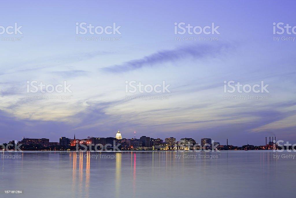 Madison, Wisconsin skyline at twilight royalty-free stock photo