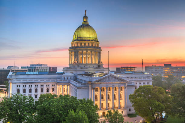 Madison, Wisconsin, USA state capitol Madison, Wisconsin, USA state capitol building at dusk. madison wisconsin stock pictures, royalty-free photos & images